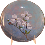 Mid-Century Nekrassoff Enamel On Copper Bowl Dogwood Flowers