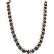 Vintage D'ORLAN Green and Clear Rhinestone Necklace