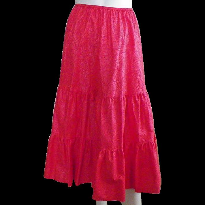 Vintage Three Tiered Red Half Slip Petticoat 8 Gore By Deena