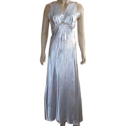 Vintage 1930's Light Blue Rayon Bias Cut Nightgown With Ecru Lace