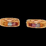 HOLD FOR DEBORAH Alwand Vahan Multi Gemstone 14K Gold Earrings