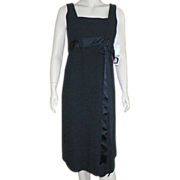 1970's Larry Aldrich Classic Wool Little Black Dress Never Worn With Tags