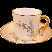 Antique Haviland & Co. Limoges Demi-Tasse Cup & Saucer Blue Flowers