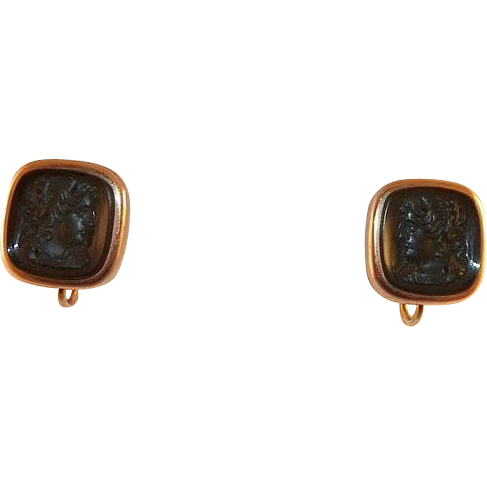 Vintage Black Cameo Gold-Filled Screwback Earrings