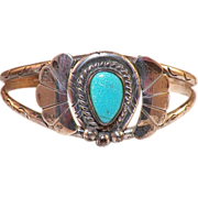 Vintage Native American Silver and Turquoise Bracelet Artist Signed