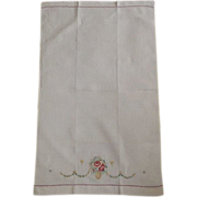 Vintage Linen Towel With Hand Done Needlepoint