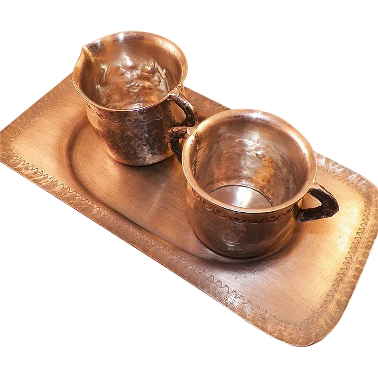 Vintage Hand Wrought Pewter Creamer and Sugar With Tray Holland
