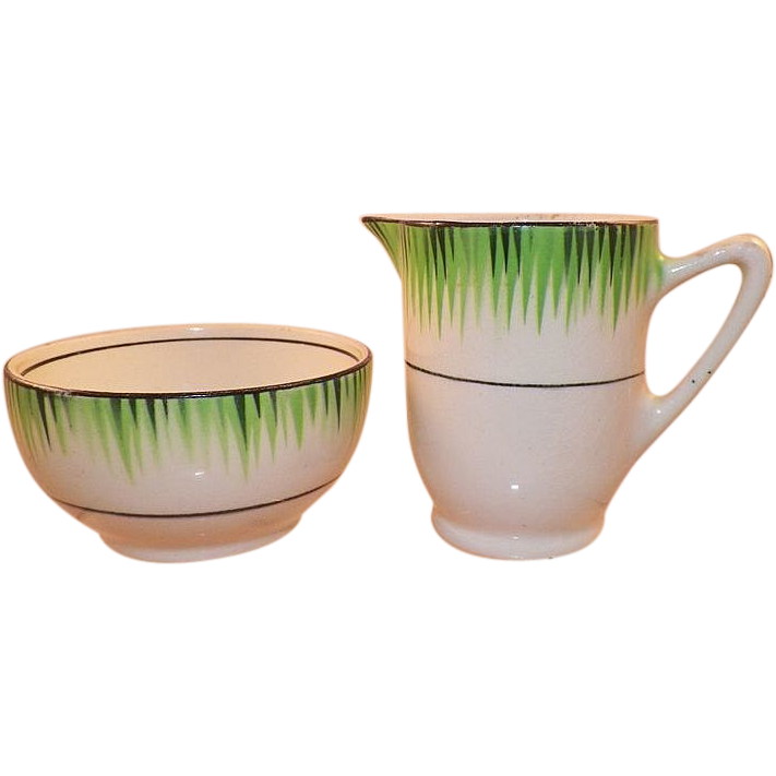 1930's T.G. Green and Co. England Grassmere Pattern Creamer and Sugar