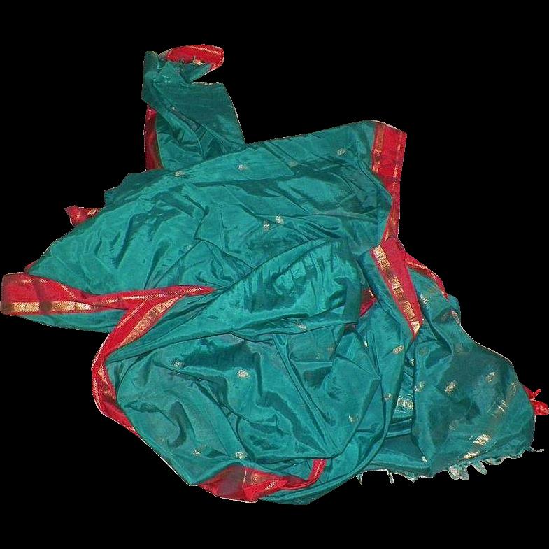 Vintage Silk Indian Sari Teal Green and Sienna