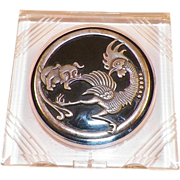 Vintage Lucite Compact With Silver Dog Chasing Bird