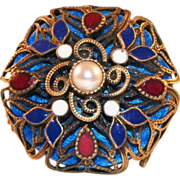 Vintage Plique A Jour Enamel Princess Ring With Pearl