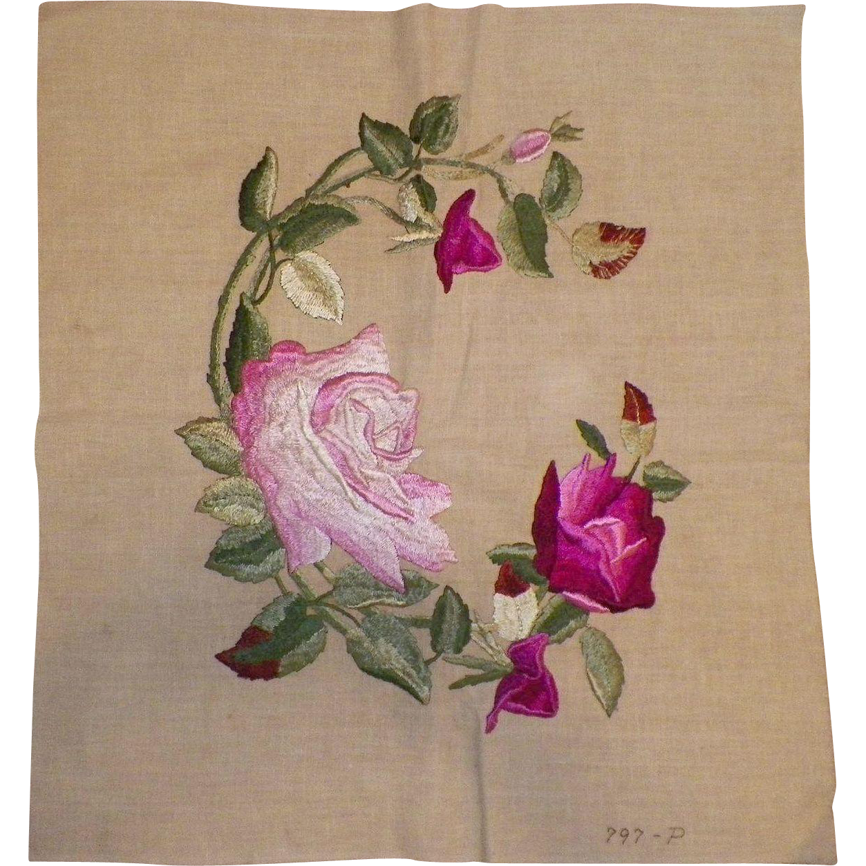 Vintage Society Silk Embroidered Roses Textile