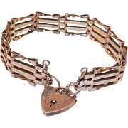 Vintage English Four Bar Sterling Heart Padlock Bracelet