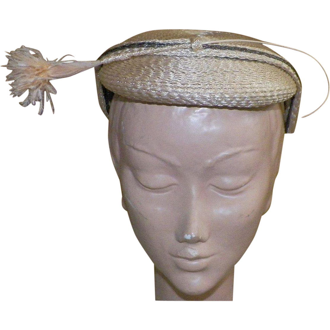 Vintage Sweet 1950's Natural Straw Hat With Ostrich Feathers