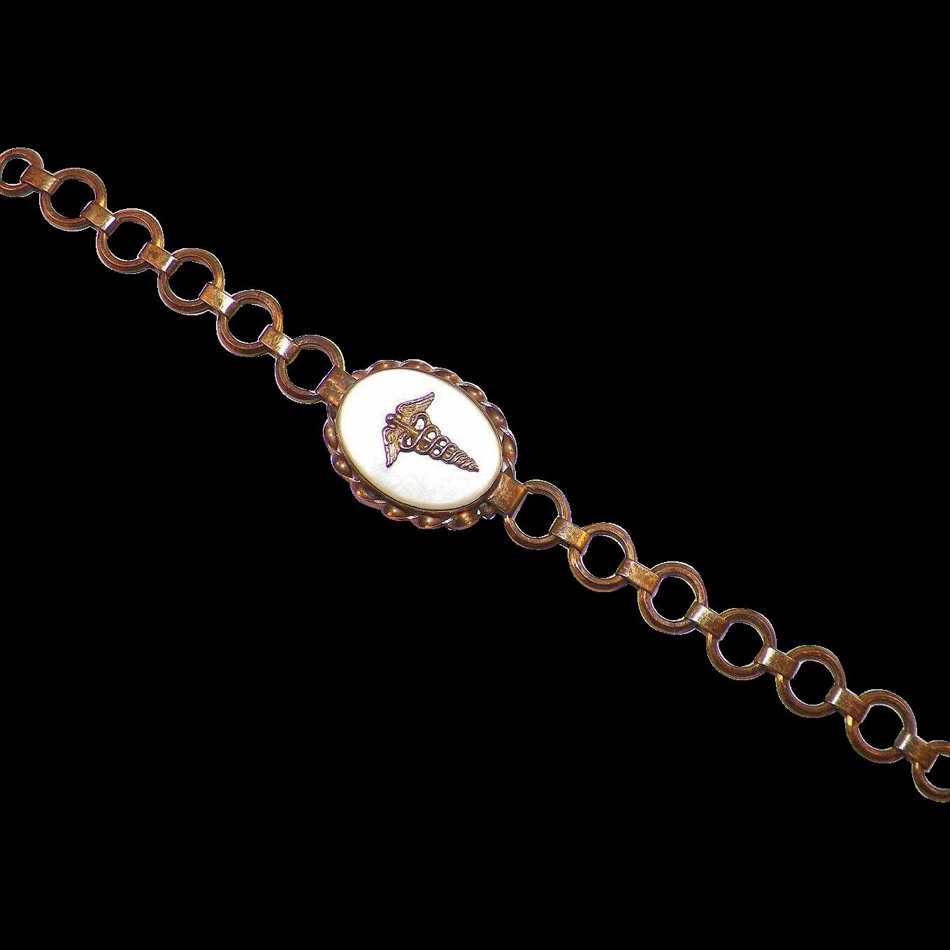 Vintage US Army Sterling Sweetheart Locket Bracelet Medical Corp