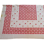 Vintage 1950's Screen Printed Rayon and Cotton Tablecloth By ML Cloths Never Used