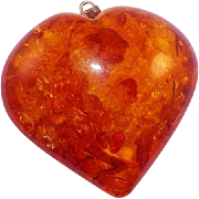 Vintage Large Amber Puffy Heart Pendant