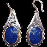 Vintage Sterling Lapis Dangle Pierced Earrings