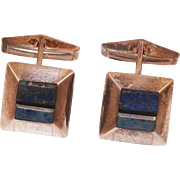 Sterling Lapis Onyx Mother Of Pearl Cufflinks Artist Signed