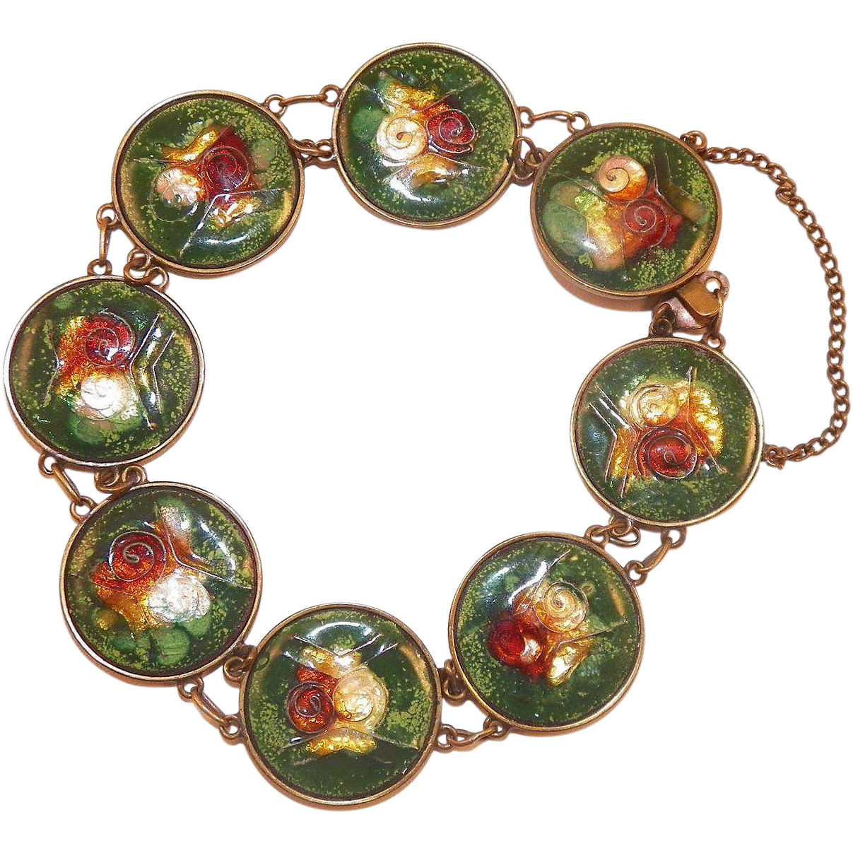 Vintage Japanese Brass and Enamel Disk Bracelet