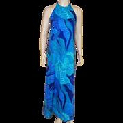 Vintage 1960's Fumi's At Waikiki Hawaiian Custom Made Long Halter Dress