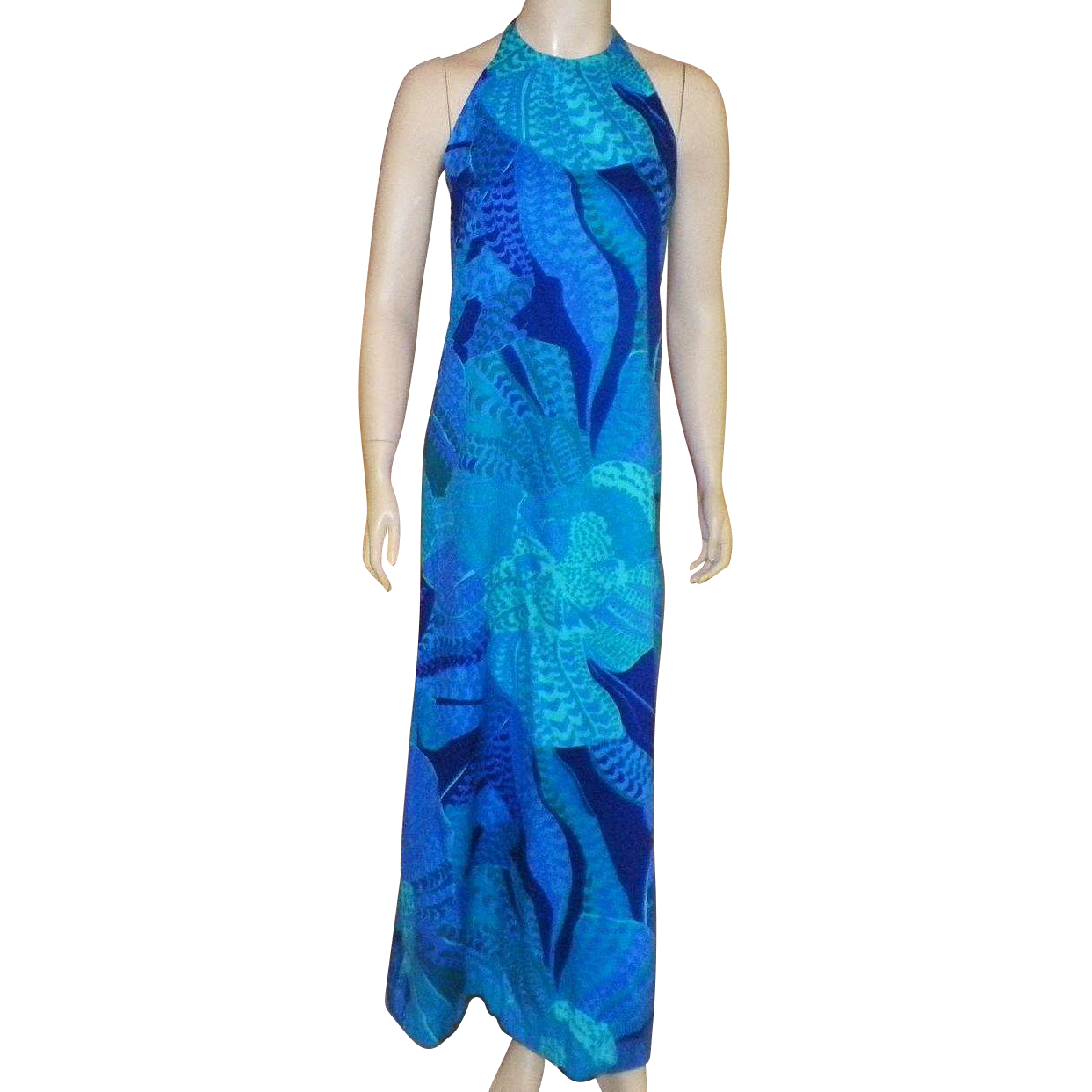 Vintage 1960's Fumi's At Waikiki Hawaiian Custom Made Long Halter Dress