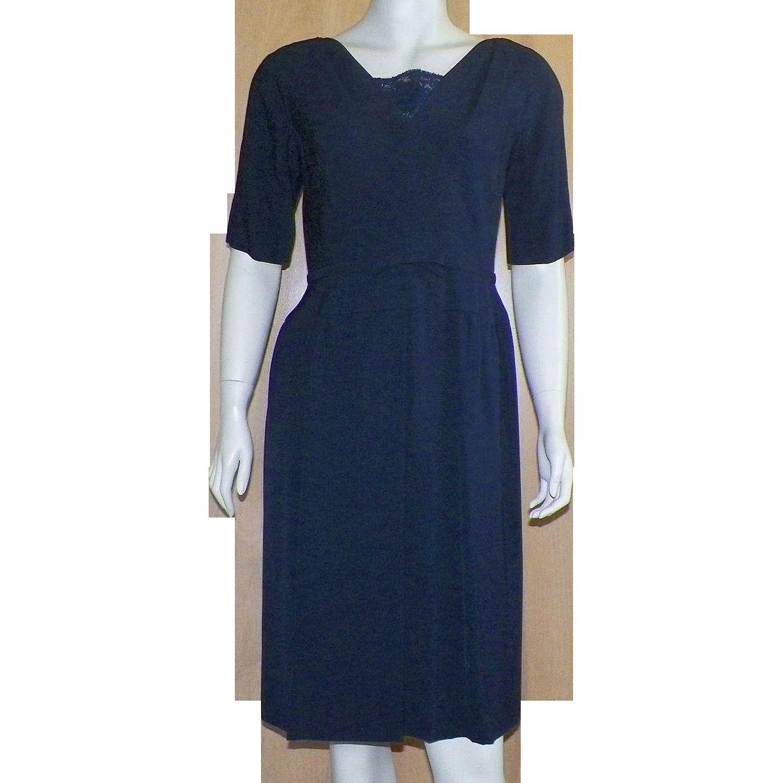 Vintage 1960's Navy Blue Cocktail Dress By Ben Barrack
