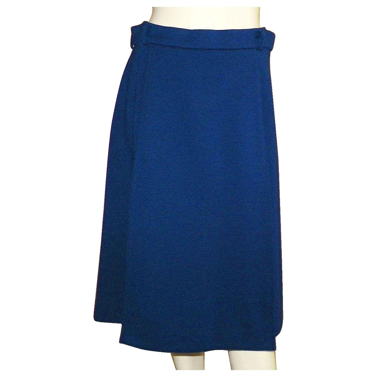 Vintage 1960's Jaeger Of Great Britain Navy Blue Skirt