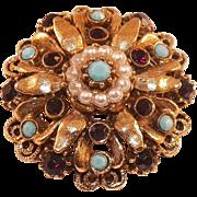 Vintage Florenza Goldtone Pin Faux Garnet Turquoise Pearls