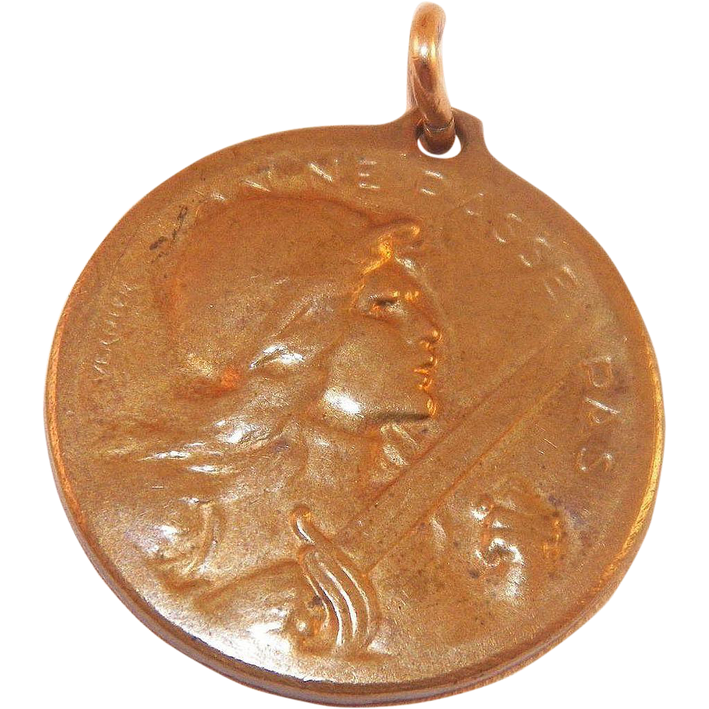 French Bronze Verdun 1916 Medal World War I Designed By S.E. Vernier