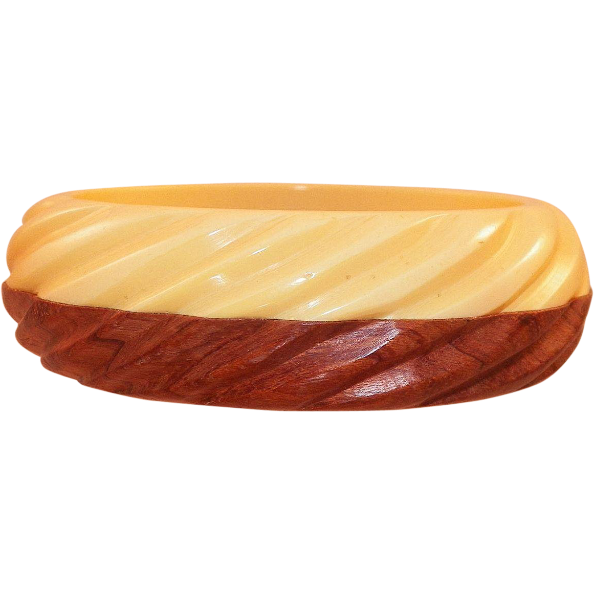 Vintage Carved Bakelite and Wood Cream Corn Bangle Bracelet