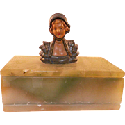 Unusual Italian Green Soapstone Lidded Box With Bust Of Woman On Lid