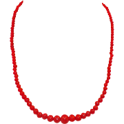 Vintage Mediterranean Coral Graduated Bead Necklace