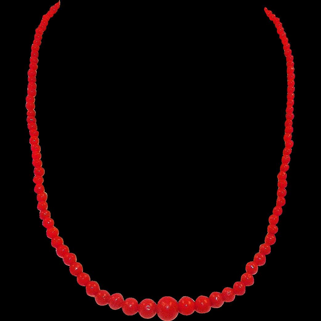 Vintage Mediterranean Coral Graduated Bead Necklace