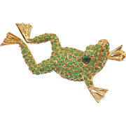 Charming DeNicola Frog Pin Green Stones