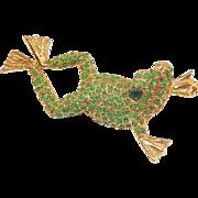 Charming DeNicola Frog Pin Green Stones