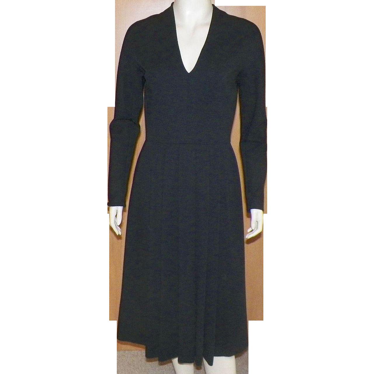 Vintage Pauline Trigere 1980's Classic Black Wool Dress