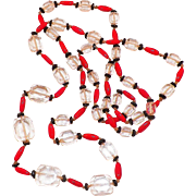 Art Deco Czech Glass Bead Necklace Clear, Red, Black