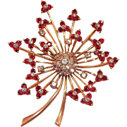 Vintage 1940's Pennino Sterling Vermeil Red Clear Rhinestone Floral Spray Pin