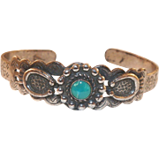 Native American Navajo Silver Bracelet With Turquoise Small Size