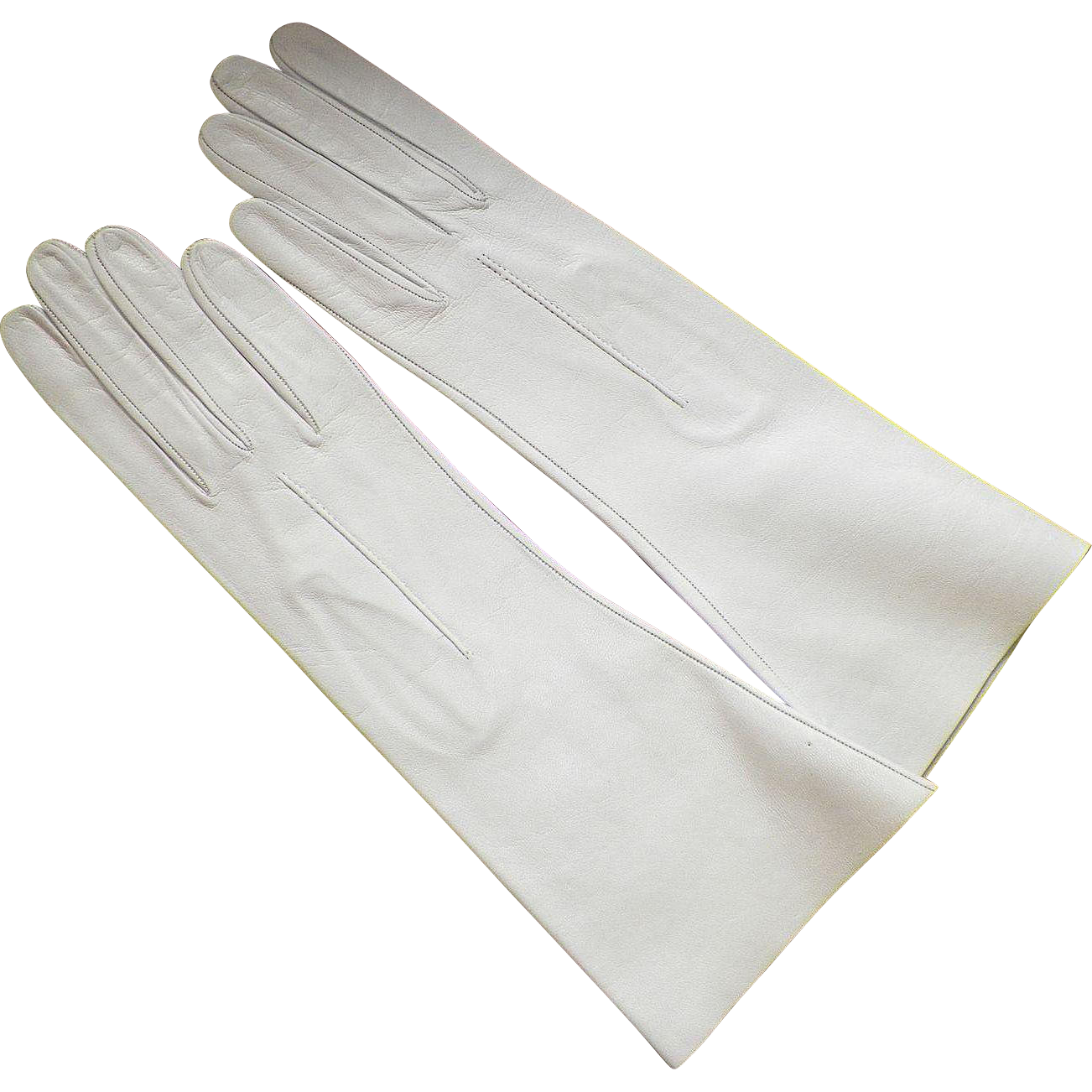 vintage washable oyster leather gloves made in italy never worn  - vintage washable oyster leather gloves made in italy never worn