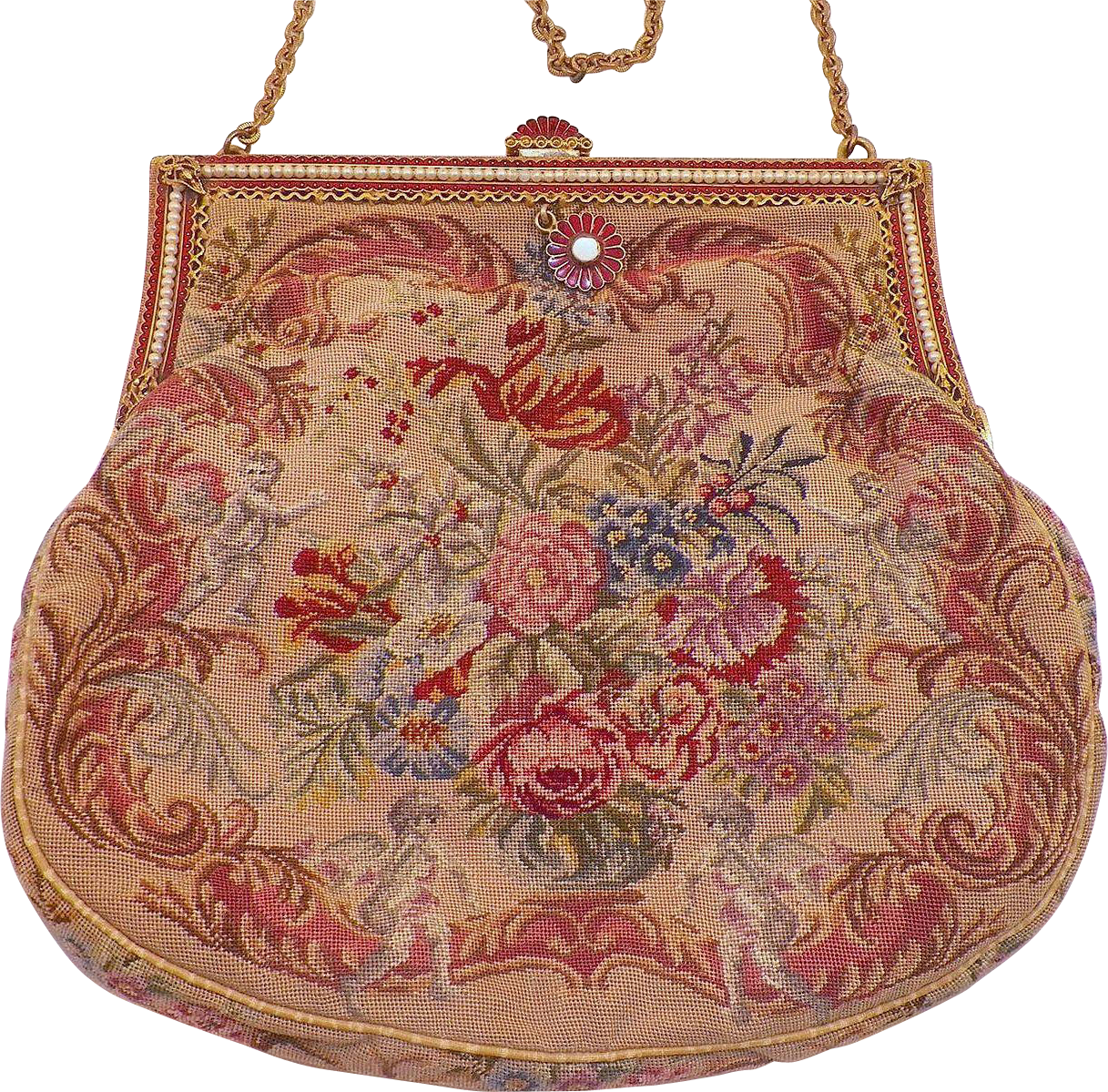 Vintage Flowers and Cherubs Needlepoint Purse With Enamel and Faux Pearl Frame