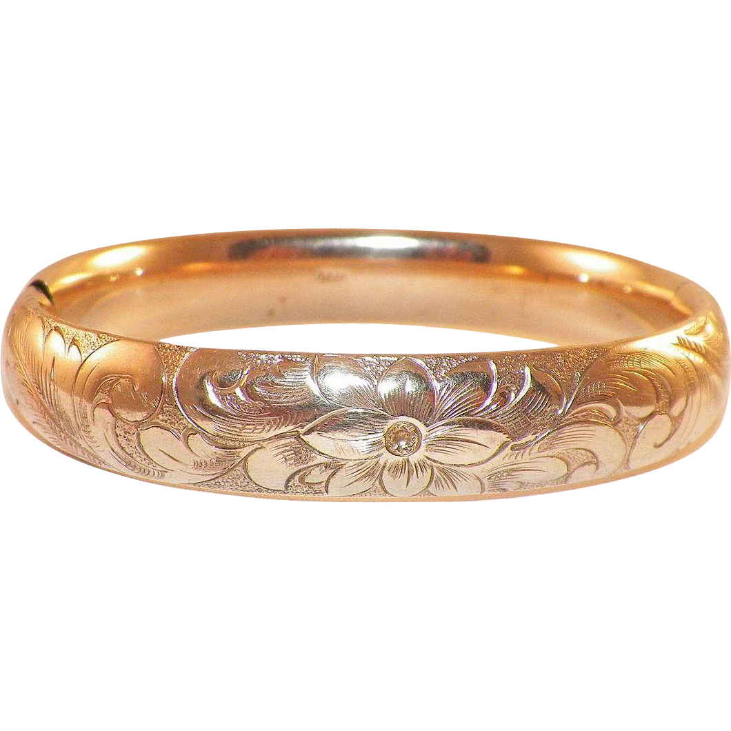 Antique Edwardian Gold-Filled Etched Bangle Bracelet