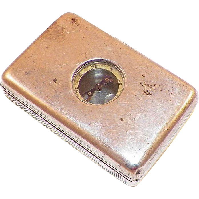 Antique English Sterling Thornhill Snuff Box With Compass