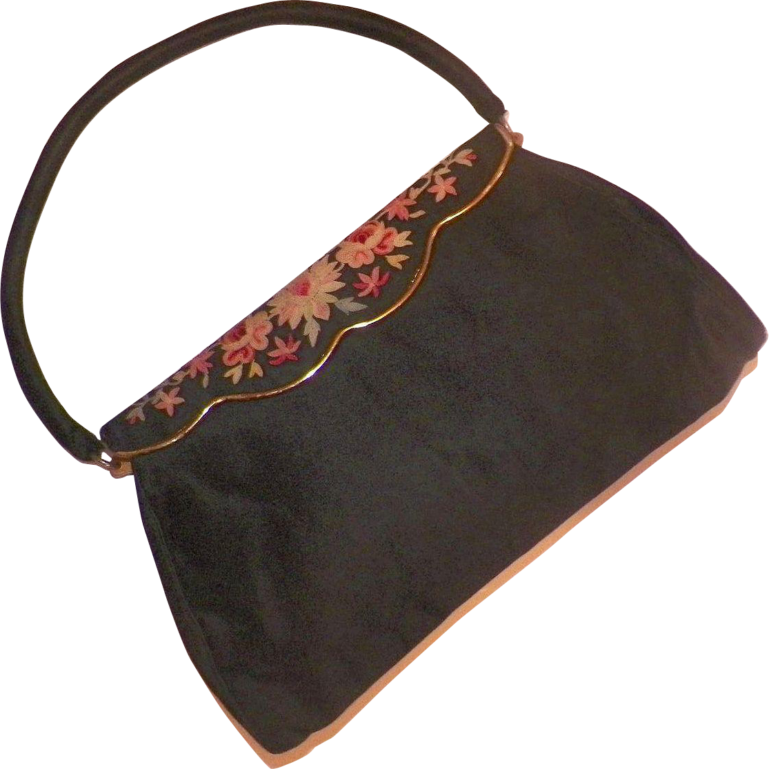 Vintage French Black Silk Evening Purse With Tambour Embroidered Frame