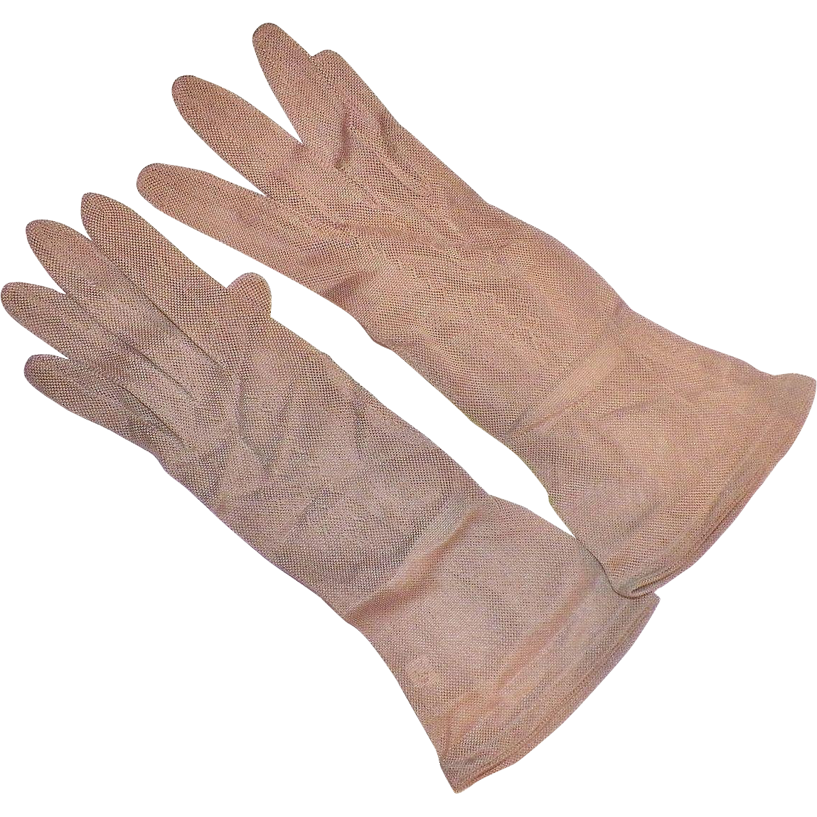 Vintage French Silk Taupe Gloves Size 6 1/2