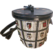 Vintage Italian Navy Blue Leather and White Wicker Bucket Purse With Coats Of Arms