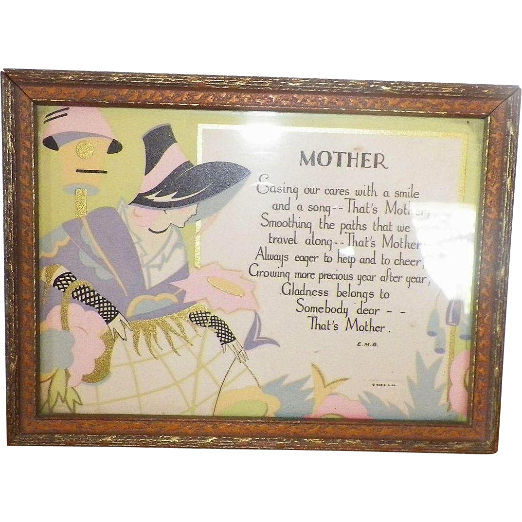 Art Deco Framed Mother Motto Print Gibson Art Co.