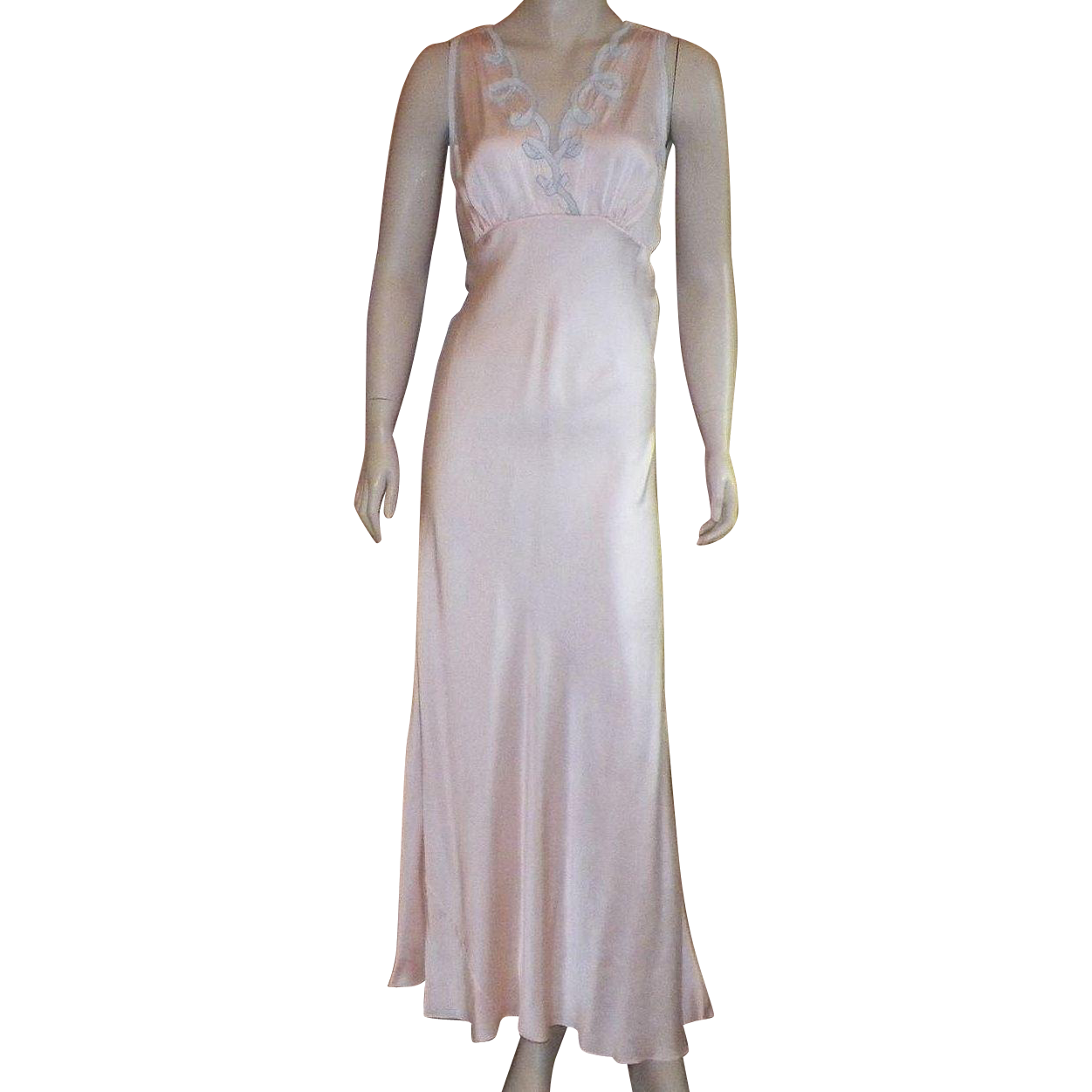 Vintage 1920's Silk Light Peach Bias Cut Nightgown With Light Blue Applique