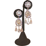 Vintage Clear Rhinestone Chandelier Earrings